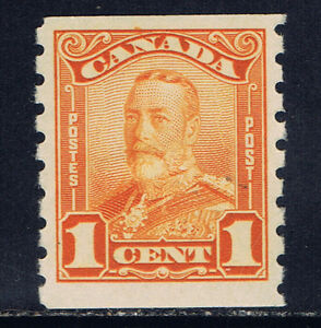 Canada #160(1) 1929 1 cent orange George V Scroll Issue COIL MH CV$60.00
