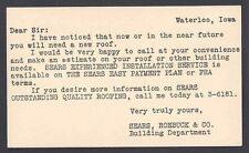 Ca 1923, WATERLOO IA, SEARS ROEBUCK CO, A NOTE TO REPAIR DAMAGED ROOF