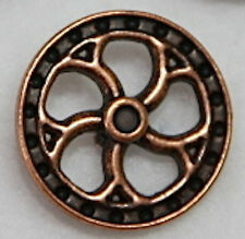 """5/8"""" Metal Antique Copper Color Steampunk Flywheel Shank Style Buttons - 3 Each"""