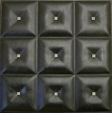 3D PU Leather Wall Panel for modern decor.12 DIY Glue Up Wall Tiles #LT-19 Black