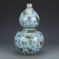 34CM China Porcelain Sky Blue Glaze FamilleRose Butterfly Gourd Vase