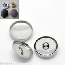 25Sets Aluminum Tone Shank Wire Back Cover Metal Buttons 21x21mm 20x20mm