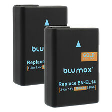 Blumax Technologies EN-EL14 1300mAh Akku für Nikon - Schwarz (Kit mit Ladegerät)
