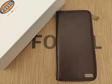FOSSIL Wallet Booklet Style OMEGA LONG Dk Brown Travel Leather Coin Wallet RP£65