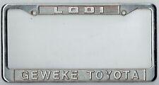 RARE Lodi California Geweke Toyota JDM Vintage Dealer Metal License Plate Frame