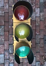 "Retired Aluminum 12"" Traffic Signal / Red / Stop Light W/ Leds Hoods / Visors #2"