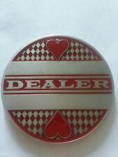 "Delux Poker Dealer Button All Metal Red/Gray Enamel chip marker (Large 2"")"