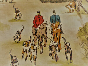 1.5  mtr HORSE AND HOUNDS COTTON/LINEN MIX CURTAIN/BLIND/UPHOLSTERY FABRIC,
