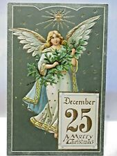 1907 POSTCARD DECEMBER 25 MERRY CHRISTMAS, ANGEL WITH CHRISTMAS TREE