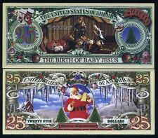 SET USA Fantasy 2 Banknotes, 25 + 25000000 Birth of Jesus, Christmas, Angels