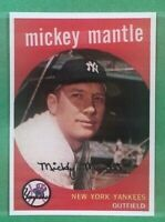 1959 Topps Reprint #10 Mickey Mantle New York Yankees Baseball Card MINT RP