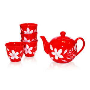 Great Quality Oriental Tea Set - Red Lily Flower