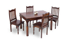 Sheesham Indian Wood Dark Brown Dinning Table and 4 Chair Set
