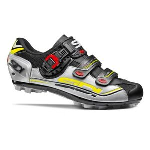 SIDI Eagle 7 Fit MTB Cycling Shoes Bike Shoes Black/Silver/Yellow Size 36-46 EUR