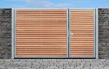 Elektrisches Einfahrtstor Qas Tor Verzinkt mit Pfosten & Holzfüllung 300 x 160cm