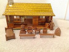 10 Piece Vintage Marx Bar M Ranch Tin Metal House~Cowboy Playset w/ Accessories.