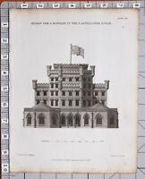 1823 Aufdruck Architektur Design für Einen Mansion Zinnen Stil