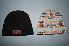 2) Cleveland Browns Hat Cap 0-6 Months NFL Football Beanie Toboggan Lot (2) NEW