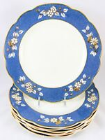 SET 7 DINNER PLATES GEORGE JONES CRESCENT CHINA BOUQUETS BLUE GOLD FLORAL CREAM