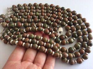 Gorgeous Gemstone Unakite Bead Multi Strand Cascading Statement Runway Necklace