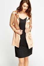 New Womens Silky Open Front Blazer Gold Color Jacket Size 10 Free P&P