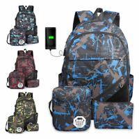 3Pcs Boys Girls Men Women Backpack Travel School Bag Rucksack Satchel w/USB Port