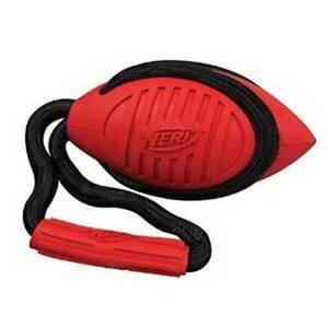 New NWT Dog Puppy Chew Fetch Toy NERF Twister Tuff Tug Football Medium Red