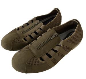 DIANA FERRARI SUPERSOFT Green Brown Elastic Zip Up Shoes Size 11 C