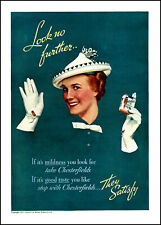 1937 Woman white hat gloves Chesterfield cigarettes vintage photo print ad S6