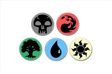 5 x Magic The Gathering Mana Symbols buttons (badges, pins, mtg, ccg)