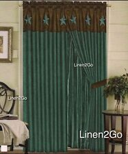 """Texas Western Embroidery Star Suede Curtain With Lining - TURQUOISE -60""""x84""""+18"""""""