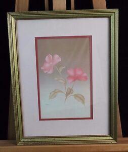Pair of Elegant Pink Floral Prints Matted & Framed