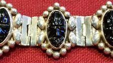 Vintage Sterling Silver 7 Panel Bracelet Mexico DF Inca Mask Oval Onyx 7 Inches