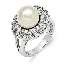 Majestik 925 Sterling Silver Ladies 10-11mm White Shell Pearl & CZ Ring Size 7