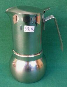 VECCHIA CAFFETTIERA PRODOTTI STELLA 6/3 TAZZE ACCIAIO INOX 18/10 VINTAGE. N° 63X