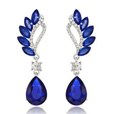 Luxury Crystal Silver Royal Blue Peacock Design Long Women Party Bridal Earrings