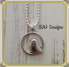 Vintage Antique Silver Singing bird pendant with 925 silver ball chain necklace