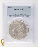 1886 Silver Morgan Dollar $1 PCGS Graded MS 63