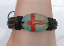 Bracelet Cuir Tressé Style Surfeur Perle Os De Yak Croix Rouge Bleu Réglable