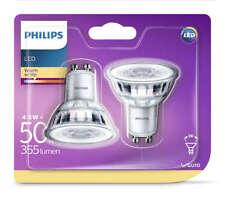 2 Pk Philips LED Glass 4.6w GU10 50w A+ Spot Light Bulb Lamp 355lm - Warm White