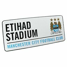 MANCHESTER CITY ETIHAD WHITE FOOTBALL STREET SIGN 100% OFFICIAL FOOTBALL FAN NEW