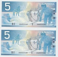 2 x Sequential 2002 $5 Canada Journey Series ANW Replacement CH/GEM UNC