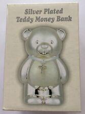 Christening Silver & Cream Teddy Bear with Cross Money Box