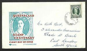 Australia1960 QEII FDC Queensland Stamp Centenary CDS Queensland to South Africa