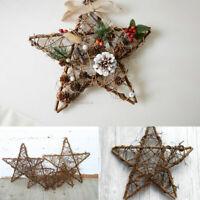 Hanging Pentagram Wreath Wicker Garland Rattan Plant Xmas Party Door Wall Decor
