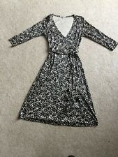 LK Bennett 100% Silk Black And Cream Patterned Wrap Dress. - Size 10