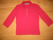 Women's Tommy Hilfiger Pink ¾ Sleeve Cotton Spandex Polo Shirt Top Size S UK 8/P
