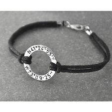 Custom Coordinates Bracelet Personalized Hammered Circle Bracelet
