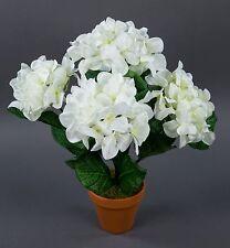 Hortensienbusch groß 42cm weiß im Topf LM künstliche Blumen Pflanzen Hortensie