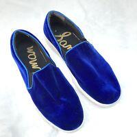 Sam Edelman Blue Velvet Lacey Slip On Sneakers Women's Size 8.5M soft comfort